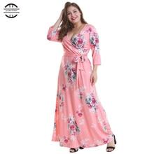2019 New Spring Big Size Women Dresses Sexy Deep V Neck Floral Print Bandage long dress Casual 3/4 Sleeve Plus Size Dress цены