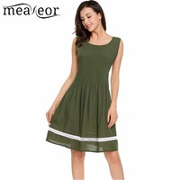 Meaneor Lace Patchwork Pleated A Line Dress Sleeveless Straight Empire Women Dress Solid Slim Female Summer