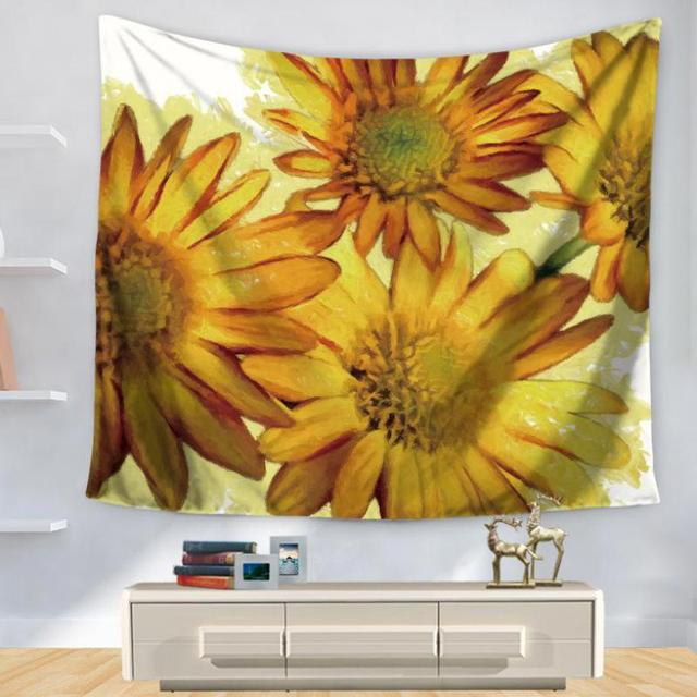 New Hot Color Flowers Sunflower Chrysanthemum Tapestries Living Room ...