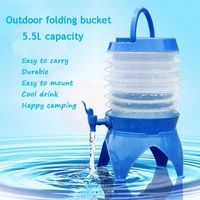 5.5L Hiking Camping Bucket Folding Retractable Beer Water Bag PP PE Material Drinking Water Storage Bags Outdoor Sport Cup
