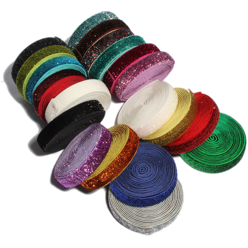 100Yards 5 8 Rainbow Glitter Fold Over Elastic Ribbon FOE for Kids Hair Accessories Girls Elastic