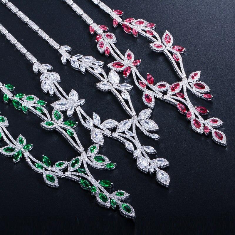 Scintillant Marquise CZ cristal longue feuille verte Costume collier boucles d'oreilles ensembles pour femmes bal bijoux de fête