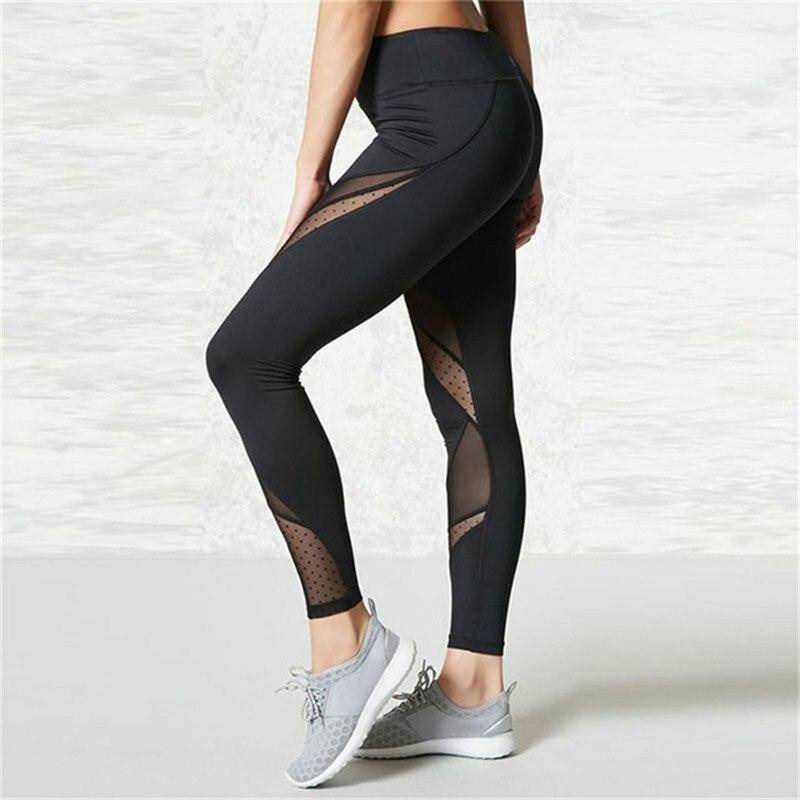 SVOKOR Sexy Mesh Stitching Leggings Women Polyester High Waist Fitness Workout Leggings Running Women Leggings