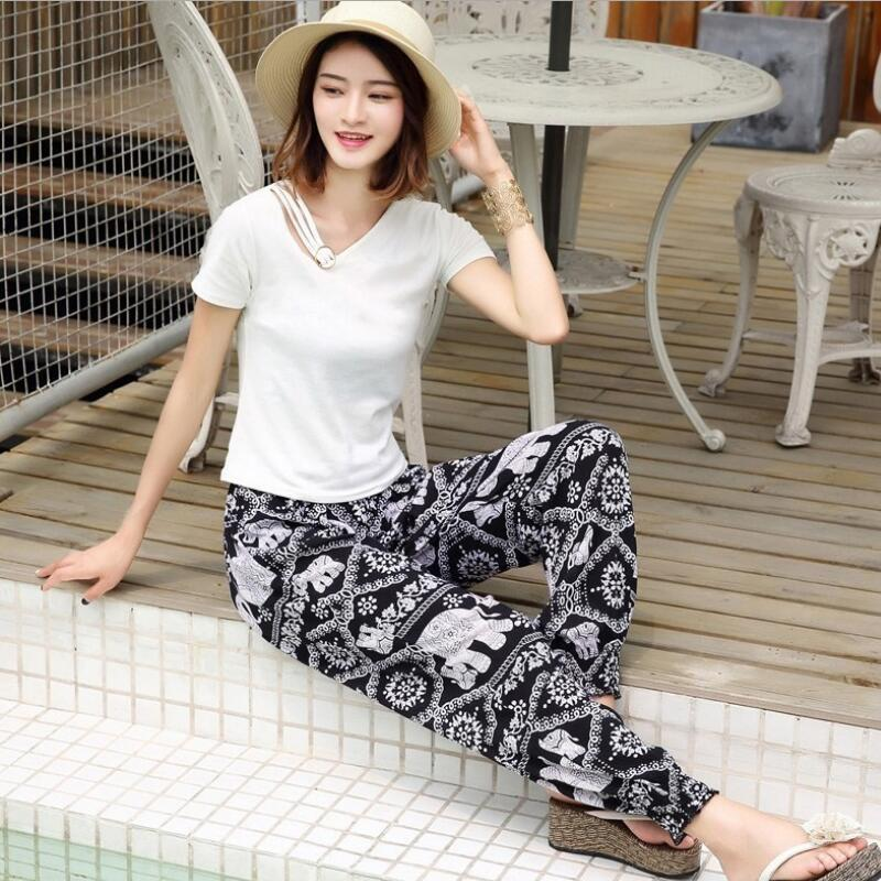 Wide     leg     pants   for women Beach/Bloom/Summer / plus size   pants   women's summer trousers 2019 new style elephant print   pants   women