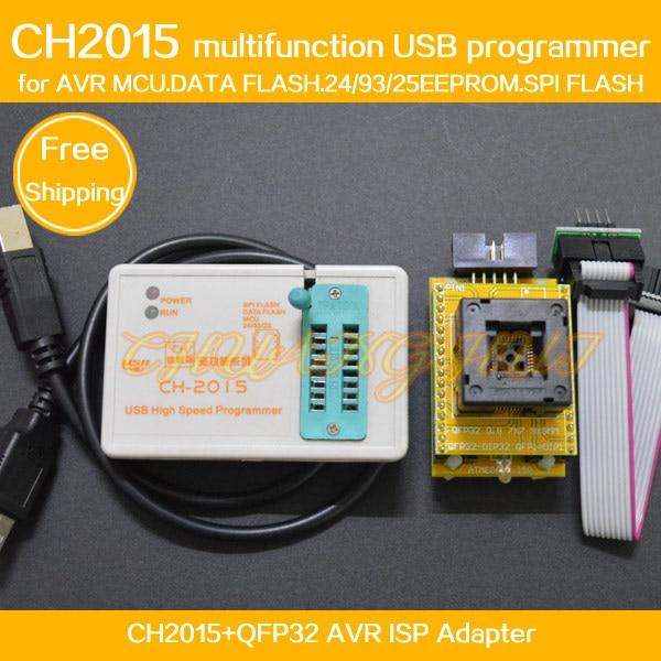 CH2015 Intelligent High Speed USB Programmer+QFP32 TQFP32 Adapter For Mega8 Mega48 Mega64 Mega128 AVR Programmer ISP