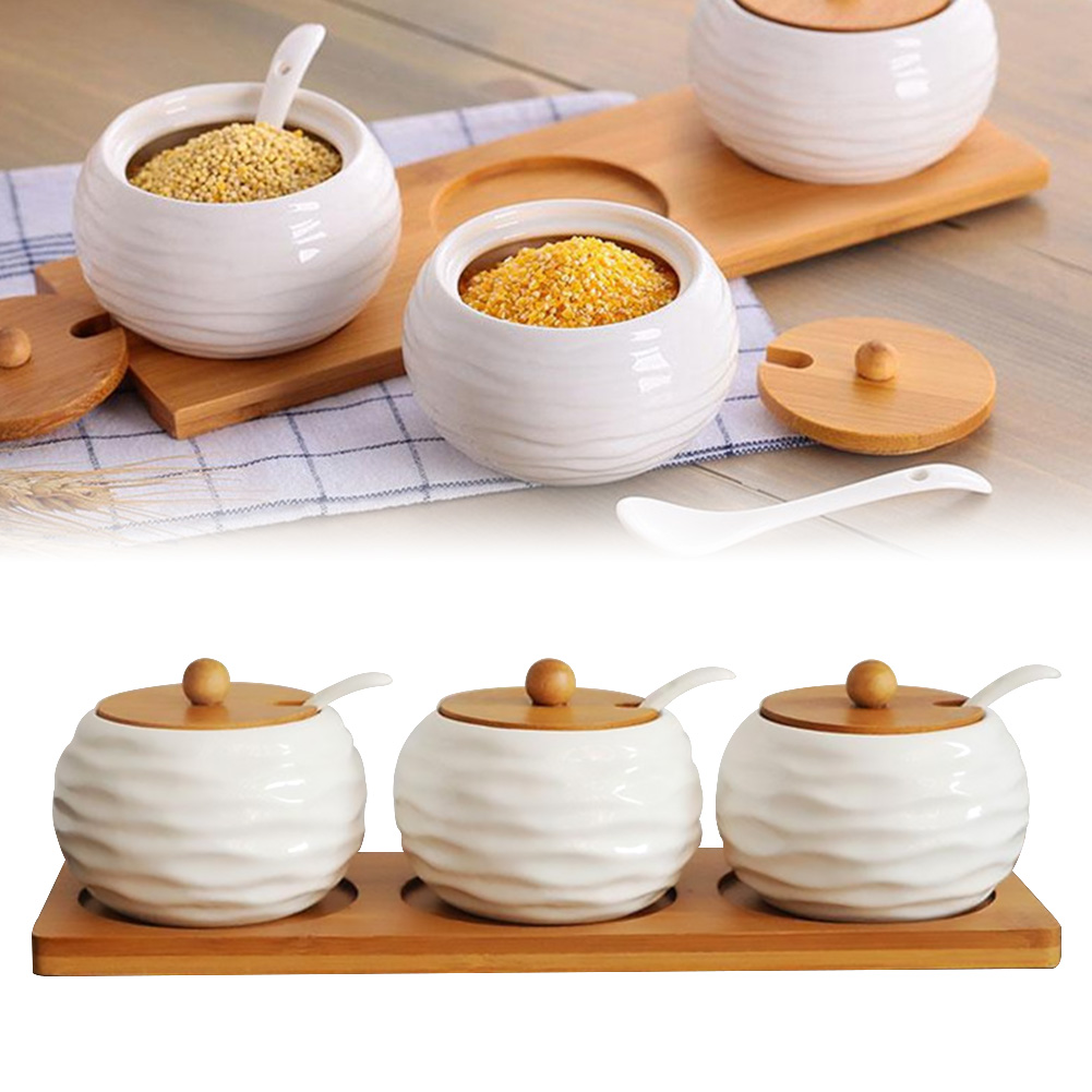 US $4.4 4% OFFPorcelain Condiment Jar Spice Container With Lids Bamboo  Cap Holder Spot Ceramic Seasoning Can Serving Spoon Wooden Tray Pottery