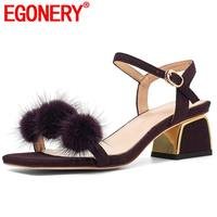 EGONERY leather office sandals purple apricot rabbit hair sheepskin insole genuine leather fashion summer 4.5cm mid heels shoes
