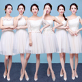 2017 new arrival short bridesmaid dresses champagne adult formal gown chiffon a line cute six style for choose in stock under 50