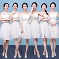 2017 nueva llegada cortos vestidos de dama de champagne de adultos formal vestido de gasa una línea lindo seis estilos para elegir en stock en 50
