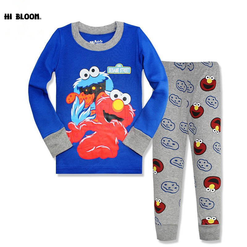 Christmas Cotton Spring Sesame Street Clothing Set Cartoon Elmo Cookies Monster Sleepwear Pajamas Sport Suit Tracksuits