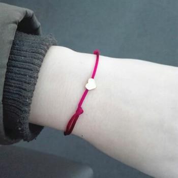 NEW Simple Charm Bracelet black color Minimalist Adjustable Rope String Lucky Bracelet heart star For Women lovers bead jewelry 3