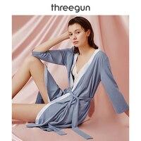 THREEGUN Robe Women Pajama Bathrobe Sexy Ice Silk Cotton Slip Viscose Lace Spandex Quality Sleepwear 2019 Bath Robe femme satin