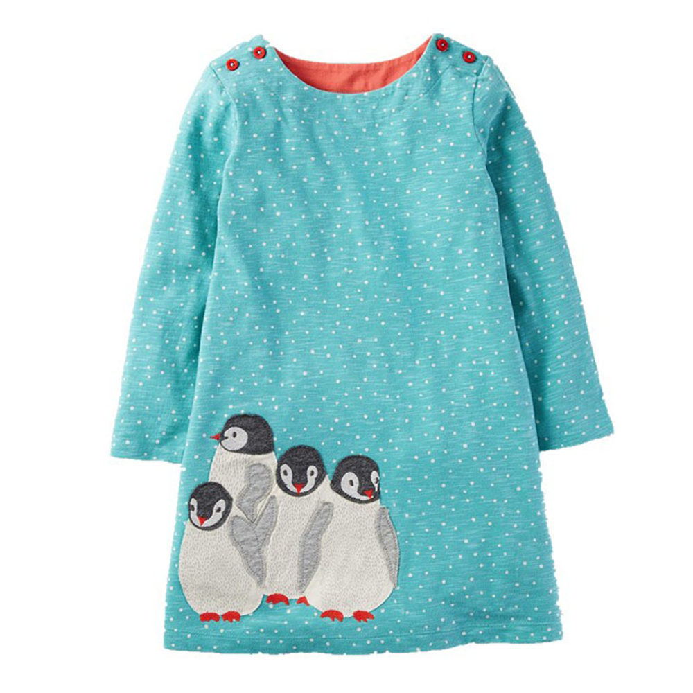 Littlemandy Girls Dress Penguins 2018 Autumn New Long-sleeve Dot Princess Dresses Baby Girl Clothes Children Kids Vestido Moana menoea 2017 new girl dress autumn bow princess dress children clothes dot long sleeve 2 colors dresses 1pcs retail