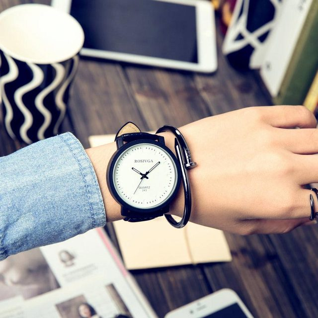 Unisex Watch Women Men Clock Quartz Analog PU Leather Strap Watches Relojes Wristwatches Yes or No  LXH