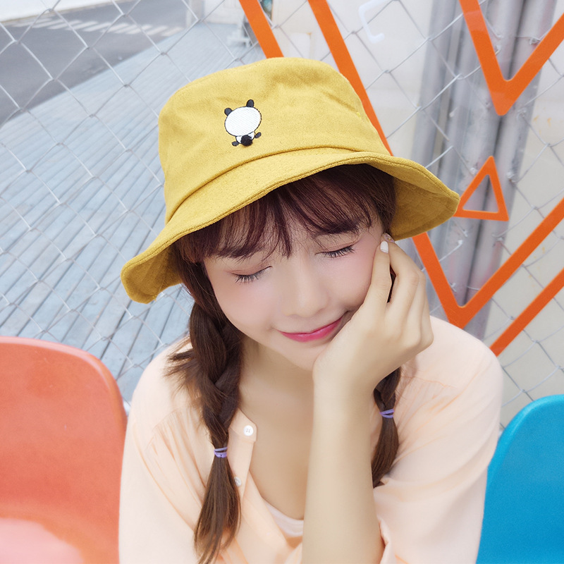 2019 Hat Women Cute Soft Girl Suede Panda Embroidery Fisherman Hat Summer Outdoor Sun Protection Sunshade Cap Men Bucket Hat Quality And Quantity Assured
