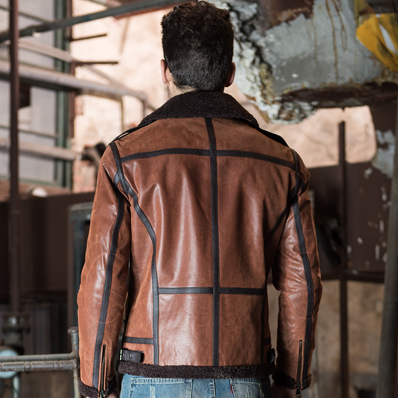 Men s Genuine Leather pigskin motorcycle real leather jackets with faux fur shearling aviator bomber jacket Men's Genuine Leather pigskin motorcycle real leather jackets with faux fur shearling aviator bomber jacket winter coat men