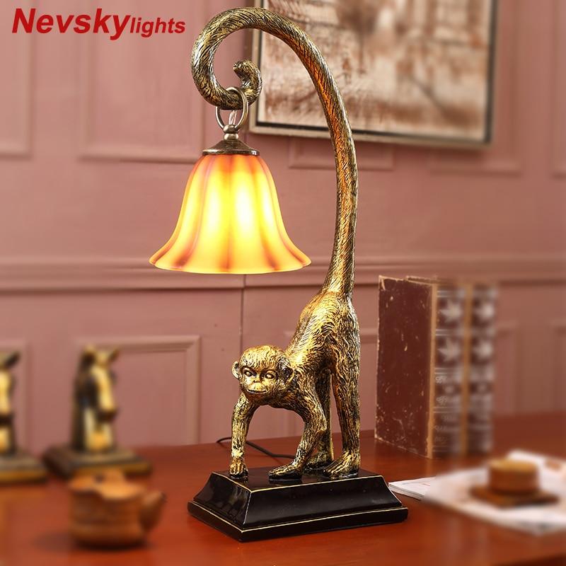 Monkey lamp lamparas de mesa para el dormitorio bedroom lamp vintage table Living Room lamps for