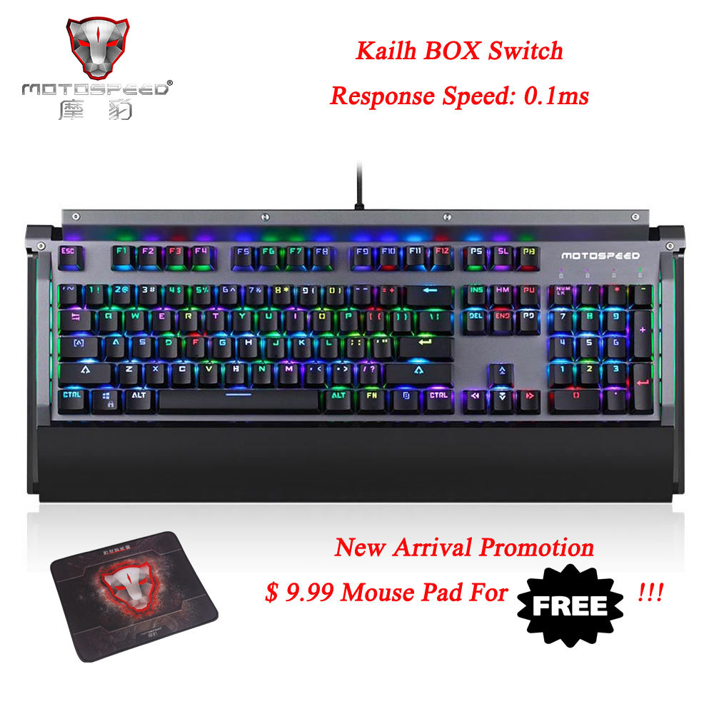 Motospeed CK98 Mechanical Keyboard Kailh Box Switch 104 keys USB 2.0 Wired 0.1ms Response Speed 1.6m Cable Black ...