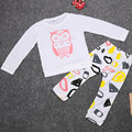 5sets/lot Owl Fashion Baby Girls Clothes Set T-Shirts Pant 2017 Children Clothing Suit Newborn Pajamas White Babies Tees Trouser