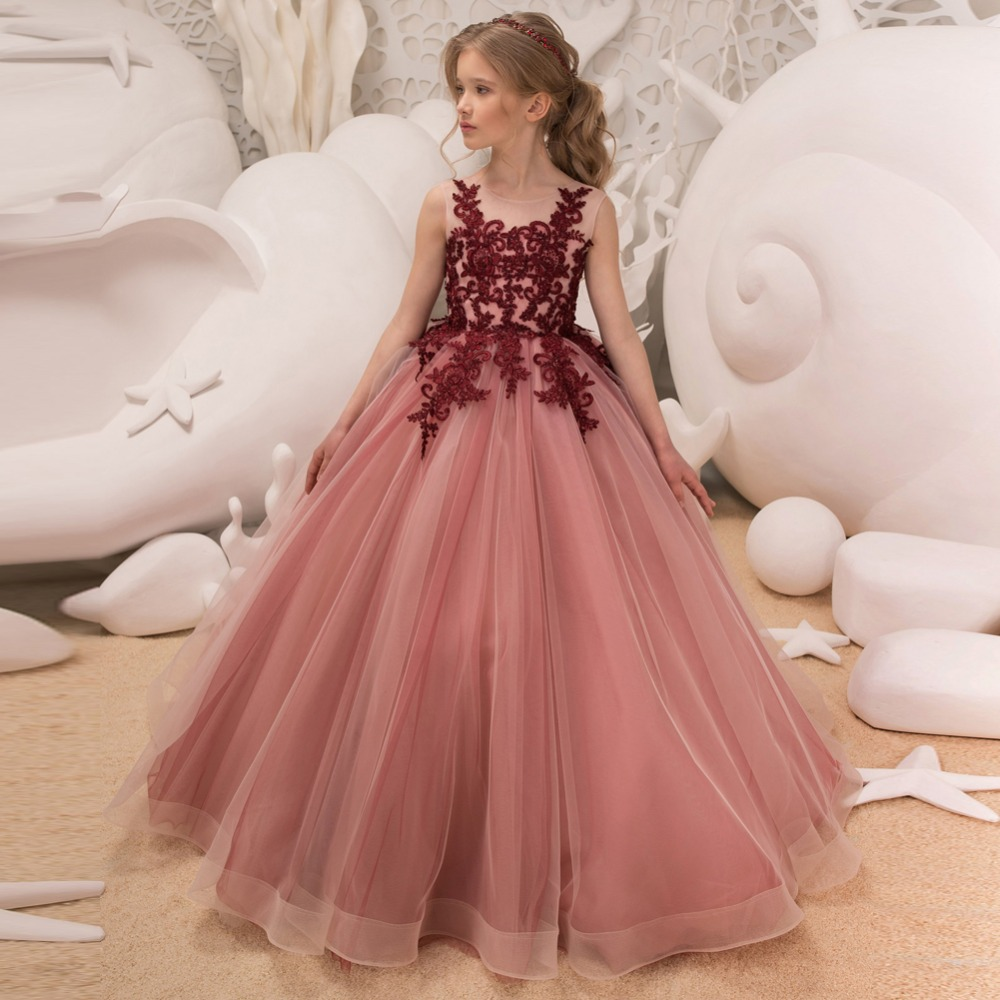 Élégante longueur de plancher rouge petites filles fleur filles robes pour les mariages dentelle bal fête sans manches Pageant Tulle robes de bal