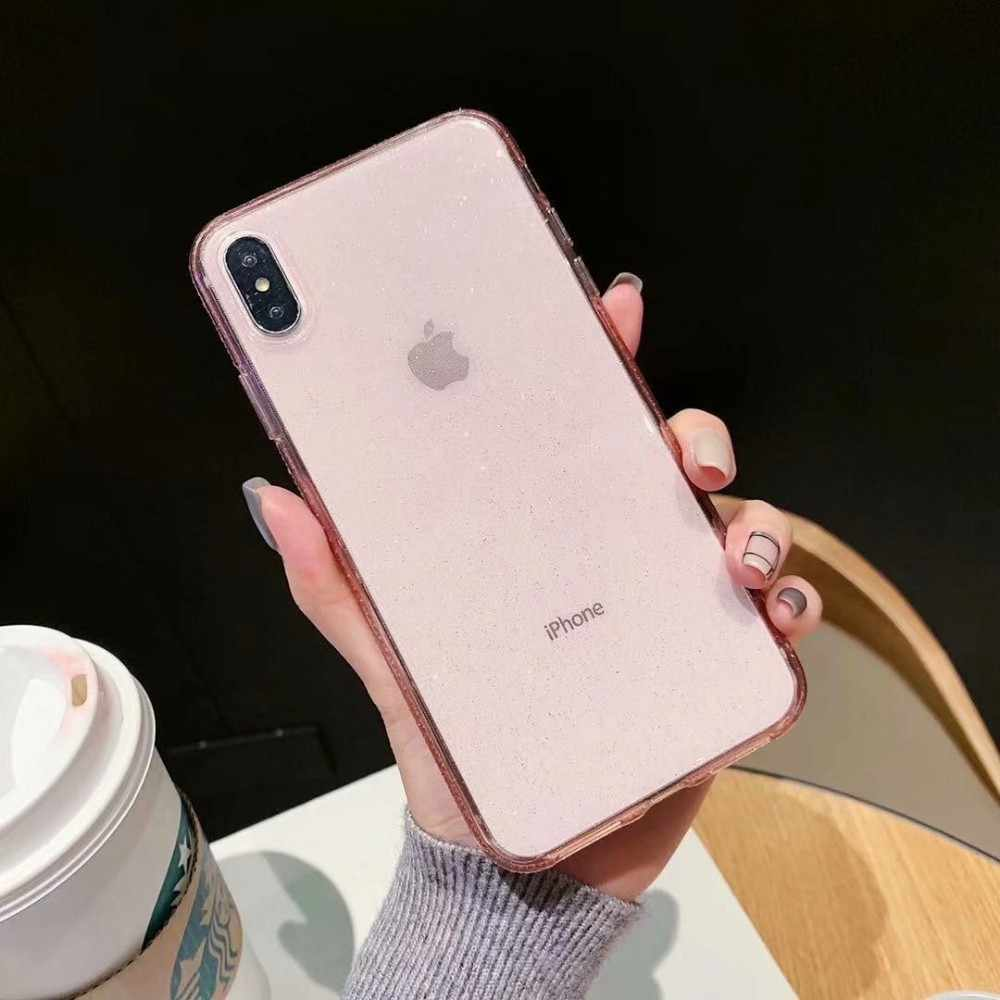Luxury Shiny Golden Powder Phone Case For IPhone X XR XS Max 8 7 Plus 6 6s Plus Transparent Soft TPU Shockproof Bling Back Cover