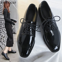 Zorssar 2019 Spring women oxford shoes ballerina flats shoes women genuine leather shoes moccasins lace up loafers Black shoes