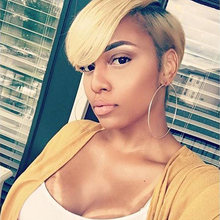 Sleek Cute Short Bob Hairstyles Part Lace Human Hair Wigs For Women Bob Wig With Bang Remy Human Hair Wig Ombre Pixie Cut Wig(China)