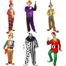 Hot Holiday Variety Funny Clown Costumes Christmas Adult Woman/Man Joker Costume Cosplay Party Dress Up Clown Clothes Suit