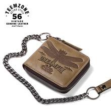 Marke Hohe Qualität Männer Kette Brieftasche Aus Echtem Leder Casual Reißverschluss Brieftasche Kartenhalter Schlank Echtes Leder Mann Geldbörse Münze J50