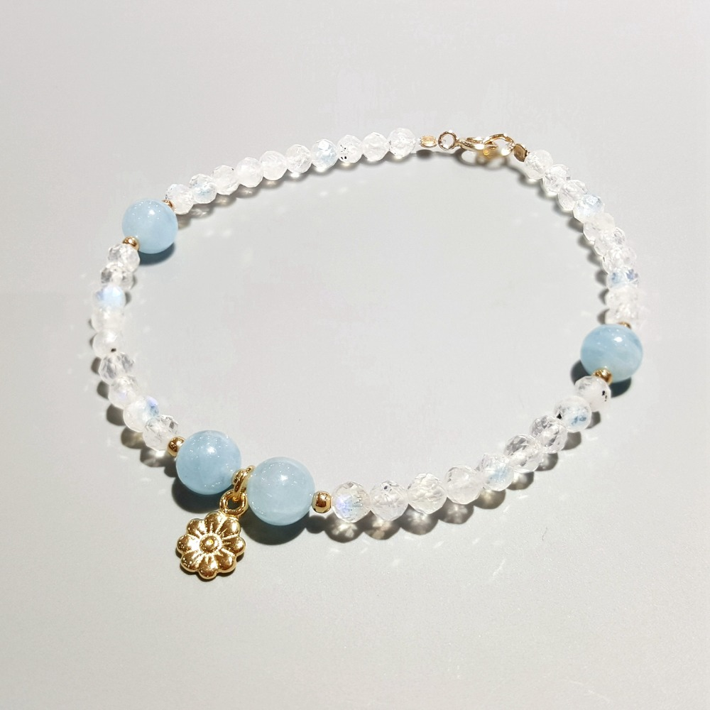 Lii Ji Natural Aquamarine Moonstone 925 Sterling Silver 18K Gold Plated Flower Charm Bracelet For Women Children Drop ShippingLii Ji Natural Aquamarine Moonstone 925 Sterling Silver 18K Gold Plated Flower Charm Bracelet For Women Children Drop Shipping