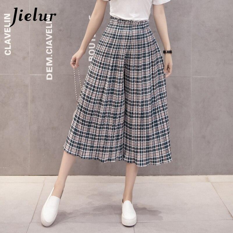 Jielur 2019 New Plaid Pleated Women's   Pants   Wide Leg Chiffon   Pants   Loose Elastic Waist Pantalones Mujer S-XL Summer   Capri   Ladies