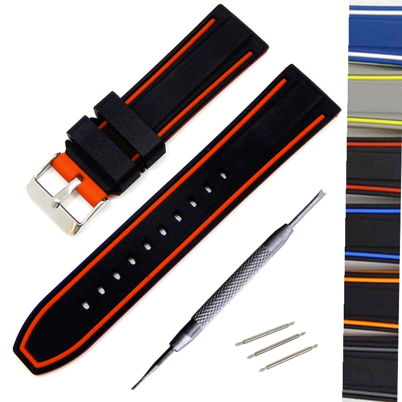 Two-color Generic Watchband Silicone Rubber Watch Strap Bands Waterproof 20mm 22mm 24mm 26mm Watches Belt