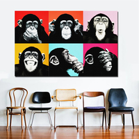 1 Pcs Colorful Monkey Animal Poster Print Canvas Paintings For Living Room Wall Art Cuadros Pictures Unframed