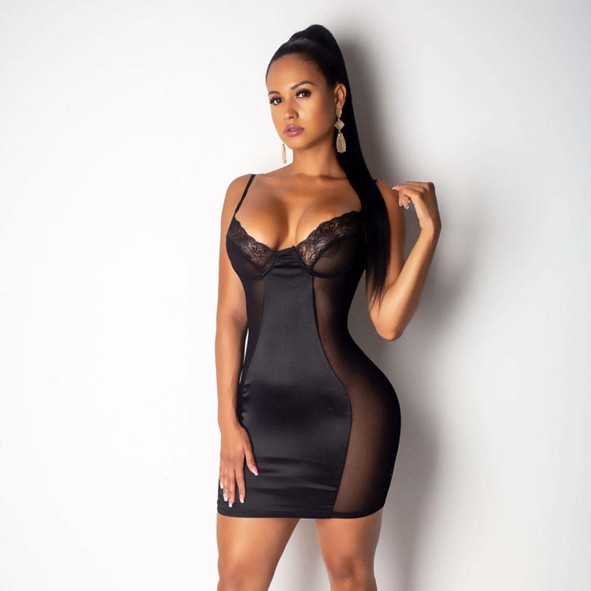 2020 Sexy Dress Women Lace Mesh Sheer Deep V neck Dresses Black ...