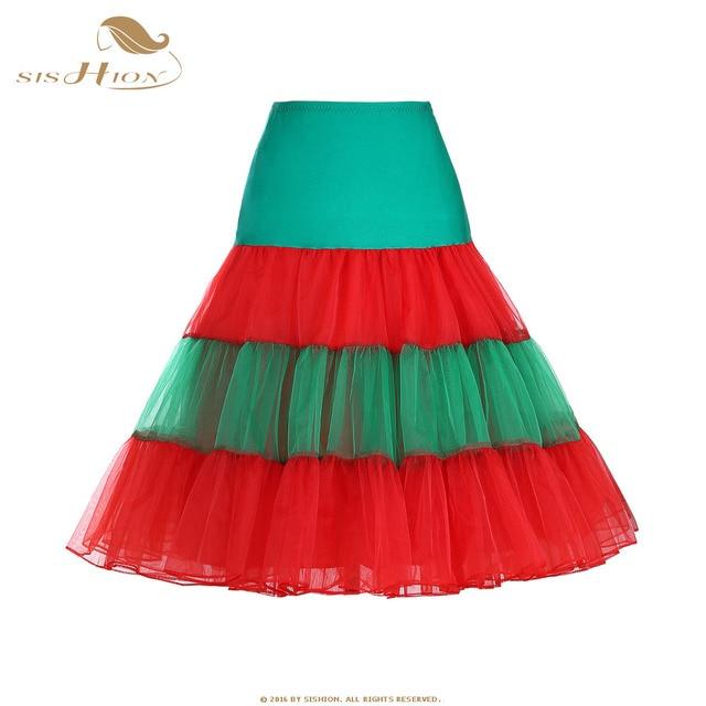 81af24995038e0 SISHION Kerst Tutu Rok Vintage Petticoat Wit Rood Groen Vrouwen Dames Tule  Rokken Organza Party Rok