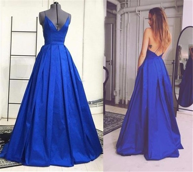 ccae1cc77f Honey Qiao Royal Blue Sexy Long Prom Dresses Deep V Neck A-line Backless  Women