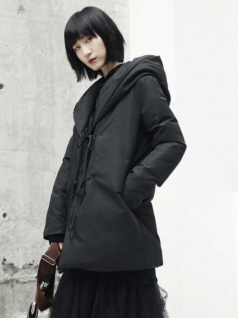 Parka À Manteaux Outwear Rembourré Minimaliste Design Longue Femmle Veste Noir Mince D'hiver Cakucool Capuchon up Dentelle Coton Mi Chaud Lâche qU14wp