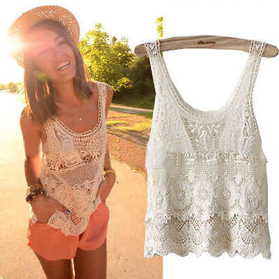 e9524b523 Elegante mujer verano Hippie Boho Vintage Crochet encaje Casual Sexy ...