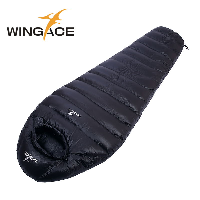 WINGAE Mummy Sleeping Bag Winter Fill 1500G 1800G 2000G Goose Down Sleeping Bag For Tourism Outdoor Camping Accessories
