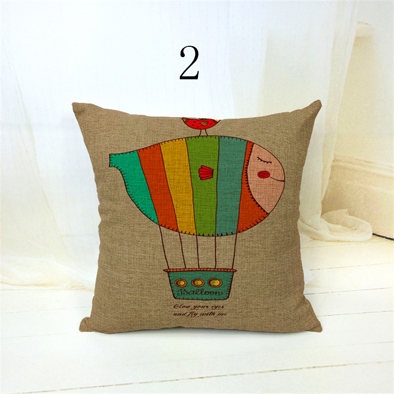 Free shipping novelty gift flying hot air balloon let your dreams fly words pattern Cushion Cover throw pillow Case