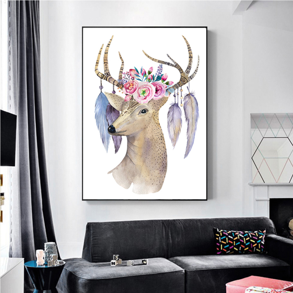 Unframed Art Canvas Painting Elk Flower Giclee Wall Decor Prints Wall Picture For Living Room Wall Art Decoration Dropshipping