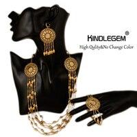 2015 Charming Nigerian Wedding African Beads Jewelry Set Crystal Fashion Dubai 18K Gold Plated Jewelry Sets