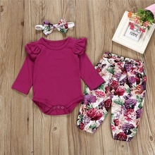 1-2Y Infant Baby 3pcs Casual Set Girls Pure Color Tops + Floral Pants +Headband
