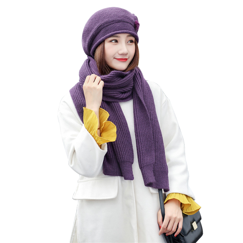 2Piece Set Hat And Scarf Gift For Mom Grandmother Winter Women Warm Cap Scarves Solid Thick Knit Scarf Rabbit Beanie Accessories