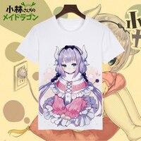Anime özledim kobayashi 'ın ejderha ma t gömlek kısa kollu kanna kamui t-shirt süt t-shirt kostüm clothing tops tee