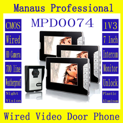 HighQuality Professional Smart Home 7 inch Screen Touch Video Intercom Phone,One to Three Video Doorphone Kit Configuration D74b