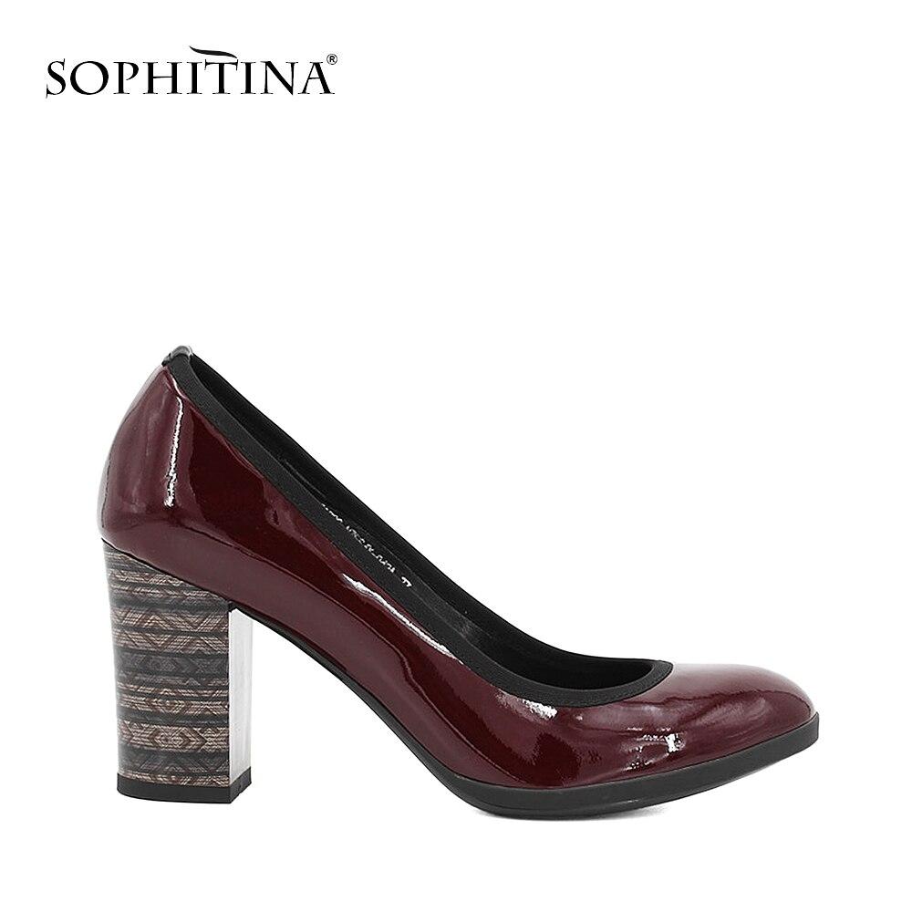 SOPHITINA élégant en cuir véritable pompes femme en peau de mouton haute épaisseur talons pompes solide bout rond bureau dame classique chaussures D01 - 3