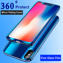 360 Plating Mirror Case For iPhone X 8 7 6 6S Plus Cover Full Protection Cases For Samsung Galaxy S7 S8 S9 Note 8 Protector Film(China)