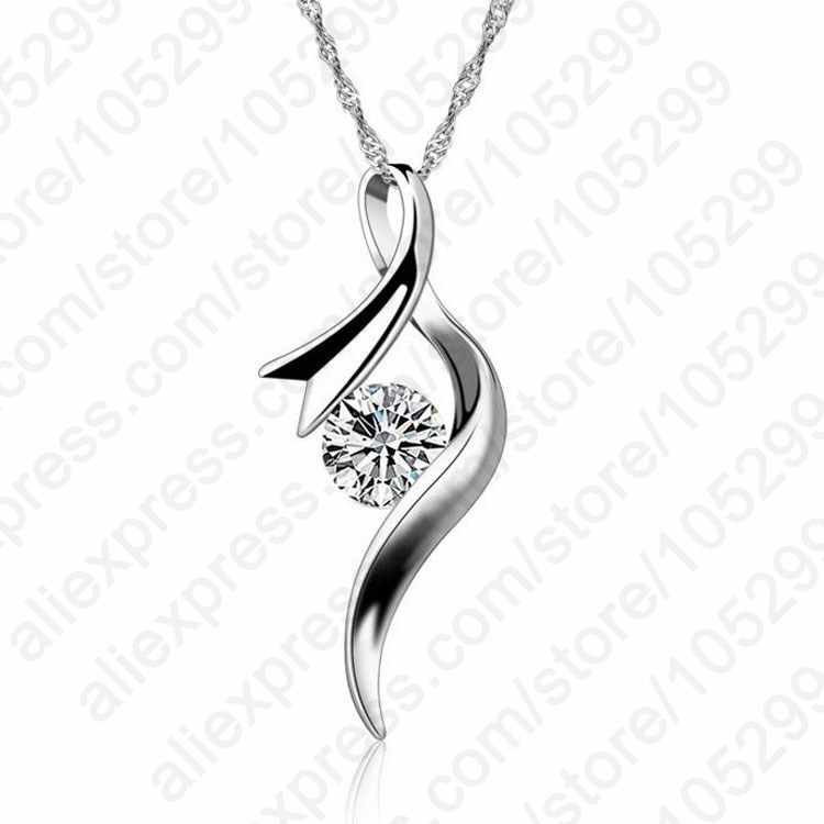 New Arrival Europe Style Women Girl Gift Cubic Zircon Pendant Necklace 925 Sterling Silver Chain Jewelry Free Shipping