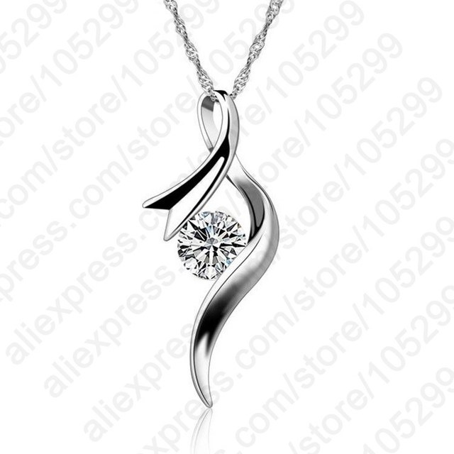 New Arrival Europe Style Women Girl Gift Cubic Zircon Pendant Necklace 925 Sterling Silver Color Chain Jewelry Free Shipping